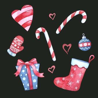Акварельные рождественские элементы