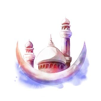 ミナレットと月とモスクの水彩イラスト。イスラム教の休日のクリーティングカードまたはポスター。
