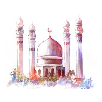 水彩のモスクのイラスト。イスラム教徒の休日の概念。