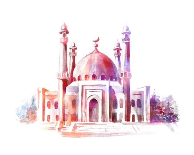 モスクの手描き水彩スケッチ。グリーティングカードまたはイスラム教徒の休日のバナー。
