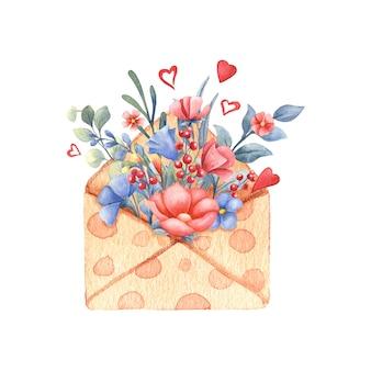 封筒に花の水彩画の花束。