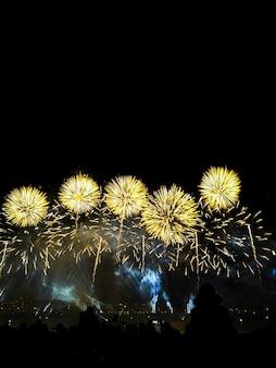 Толпа смотреть разнообразие красочный фейерверк. салют с желтыми и золотыми вспышками, на фоне ночного неба.