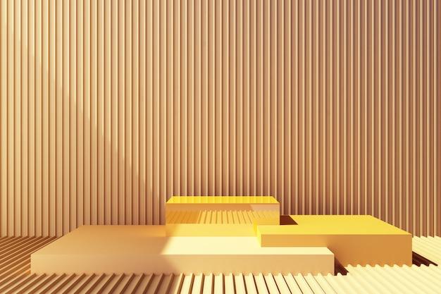 黄色の金属板の壁が付いた製品スタンド