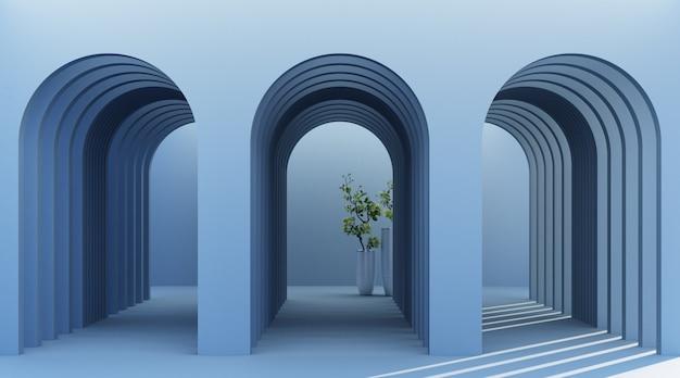 植物と最小限のアーチ廊下