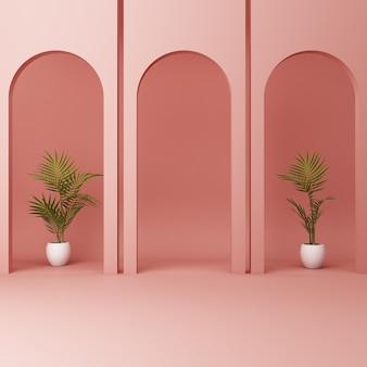 植物とミニマルなピンクのアーチ