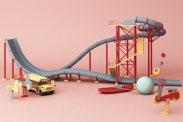 たくさんのおもちゃに囲まれた遊園地のジェットコースター