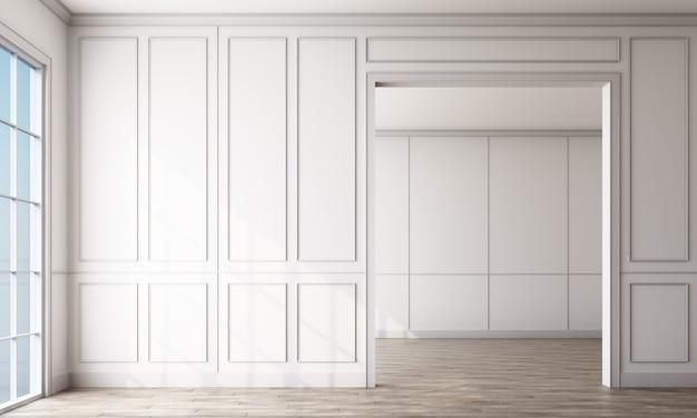 白いパネルと木製の床と空の部屋