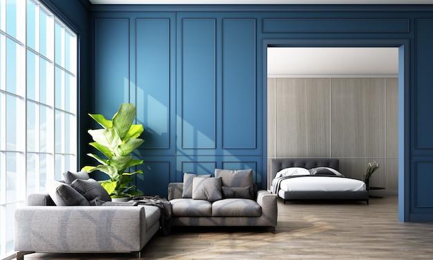羽目板の壁と家具のある明るい部屋