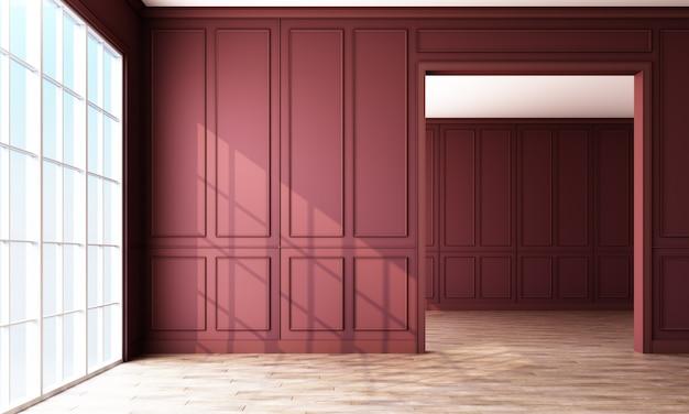 赤いパネルと木製の床と空の部屋