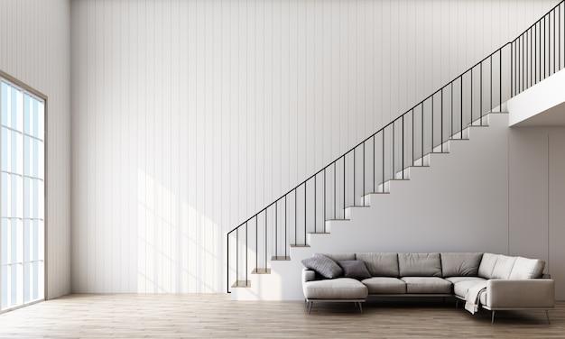 階段、ソファ、窓のある部屋