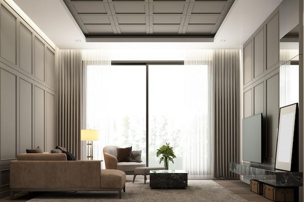 Дизайн интерьера изображения интерьеров современной роскошной жилой зоны с классической отделкой стен и элементами мебели