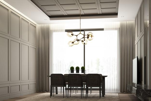 Дизайн интерьера изображения интерьеров современной роскошной столовой с классической отделкой стен и элементами мебели