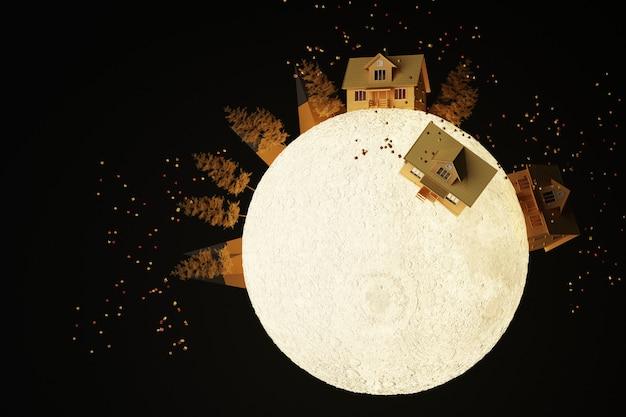 木に囲まれた月の輝く光の上のかわいい黄色い家