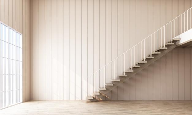 階段と窓の空の部屋