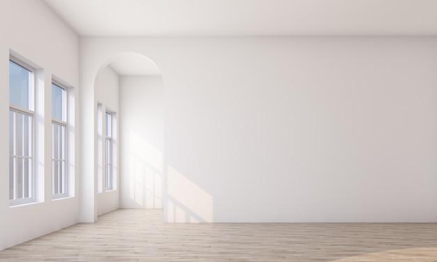 Белая комната с деревянным полом