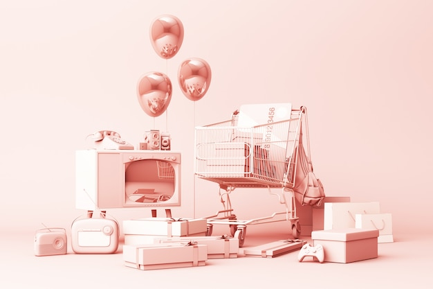 Супермаркет корзина окружена подарочной коробкой с кредитной картой и множеством гаджетов на розовом