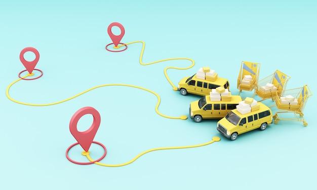 ロケーションモバイルアプリケーションを備えたスクーターバイクと黄色のバンによる配達