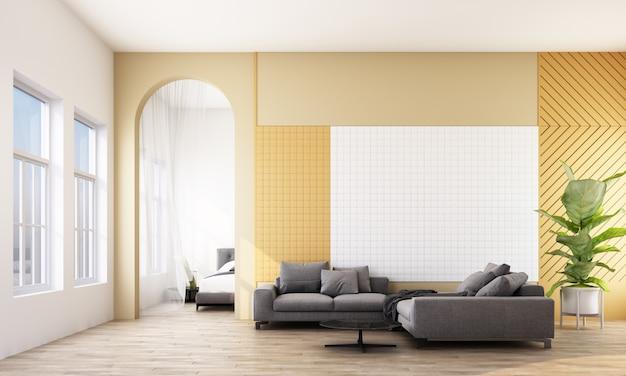 Современный номер с диваном, окном и аркой