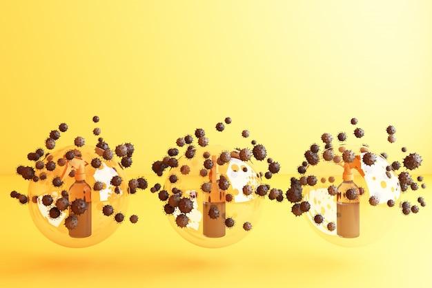 Вирус убит спреем, дезинфицирующим раствором, бутылочным спреем, окруженным множеством красочных вирусов в желтом рендеринге