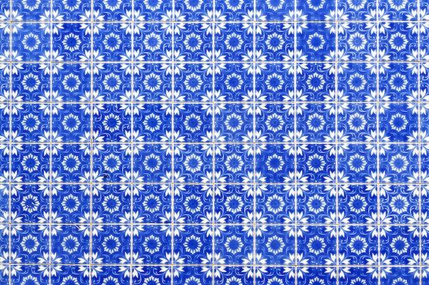 Португальская голубая плитка крупным планом