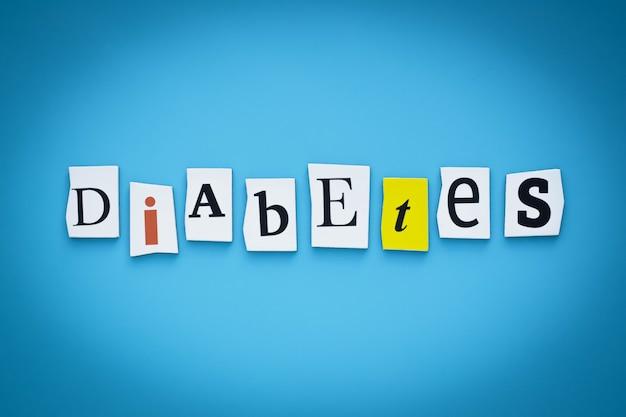 Текст - диабет. одно слово. надпись на баннере.