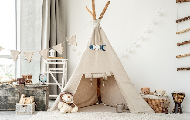 ウィグワムと子供部屋のインテリア