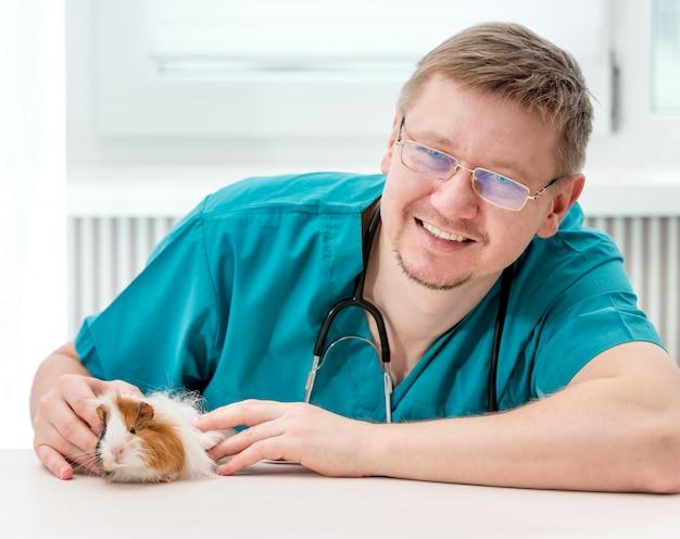 笑みを浮かべて、カメラ目線を調べる獣医クリニックでメガネでハンサムな医師獣医