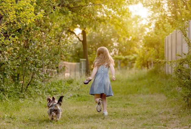 田舎で犬と一緒に走っている少女