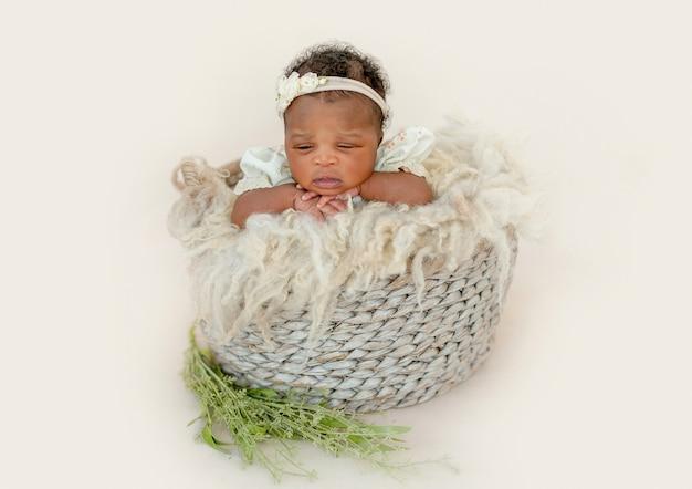 かごの中の女の赤ちゃん