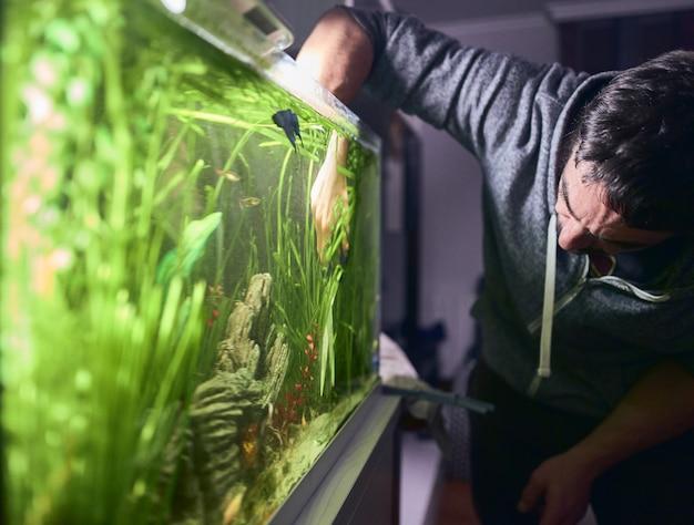 Молодой человек обрезка растений в своем аквариуме.