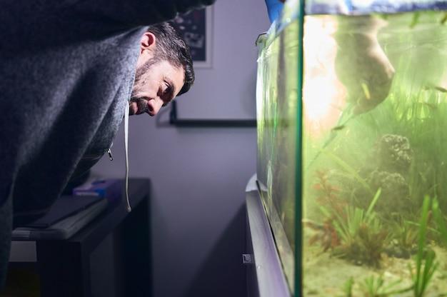 若い男が彼の水槽で植物を剪定します。