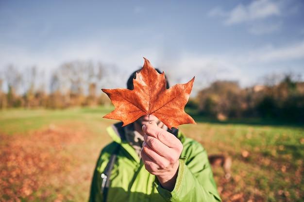 ぼやけ田舎背景に彼の顔を覆っているオレンジ色の秋の葉を抱きかかえた