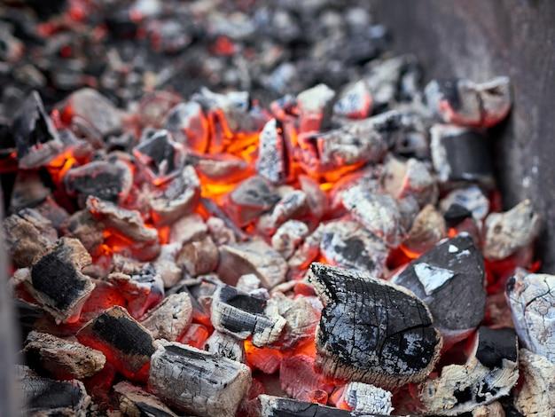 Стек на гриле мясные колбаски и жареный красный перец на подносах