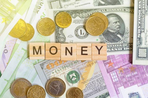 お金紙幣の単語テキストお金