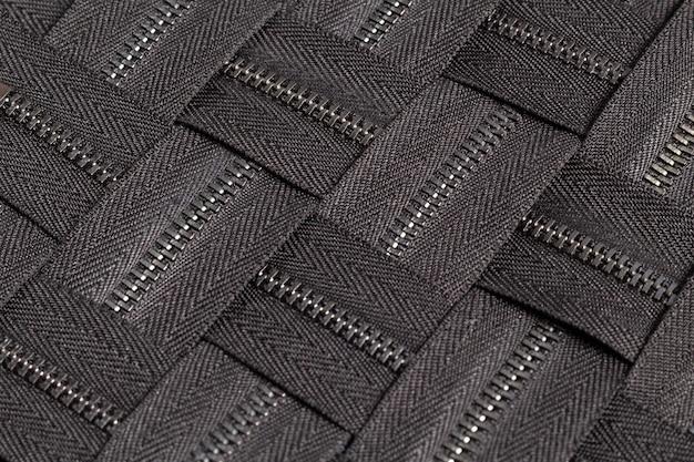 手作りの縫製仕立て革細工革細工のためのスライダーパターンで黒い金属真鍮ジッパーストライプの多くを詰める