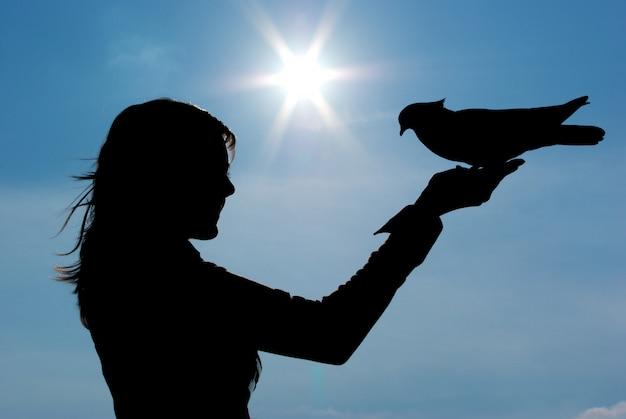 少女と鳩のシルエット