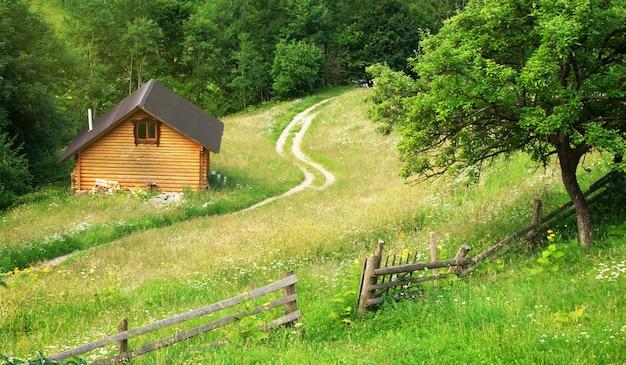 山の牧草地の家