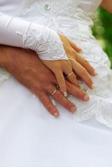 新婚夫婦の手