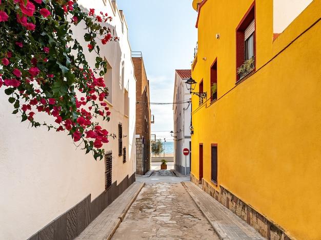 Вид на улицу, ведущую к пляжу с белыми и желтыми зданиями по бокам. эль масноу, барселона, каталония, испания.