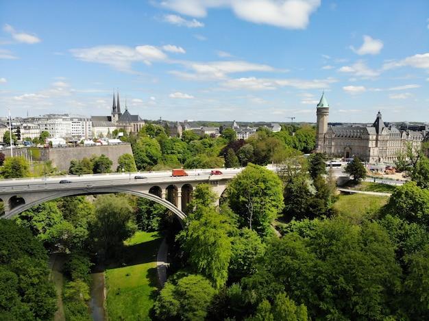 上からの美しい景色、ルクセンブルク。ルクセンブルク王国の首都。素晴らしい景観と傑出した景観を備えた小さなヨーロッパの国。ドローンによって作成された空中写真。