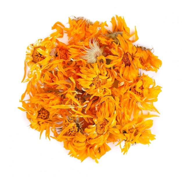 白で隔離されるキンセンカの花を乾燥