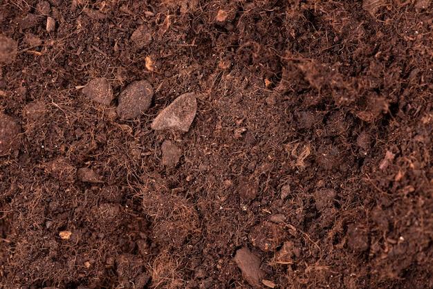土壌テクスチャ背景。上面図。植物や花を育てる肥沃な土壌。