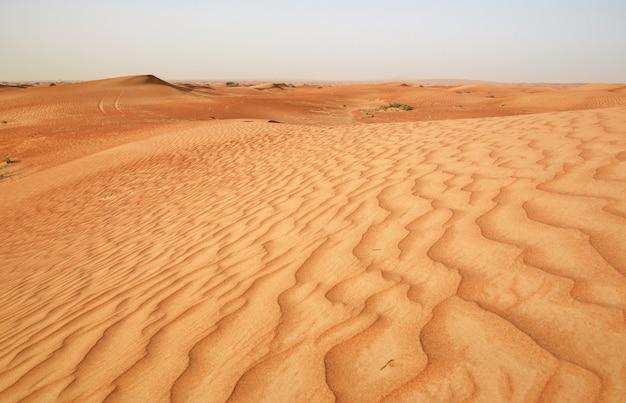 ドバイの近くの砂漠の赤い砂
