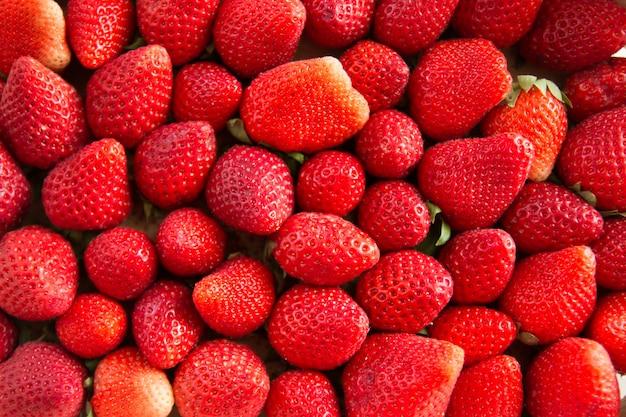 収穫したてのイチゴの背景