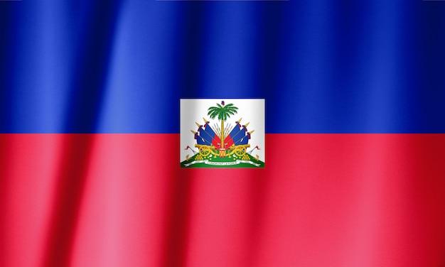 ハイチの旗を振っています。独立記念日の国家ハイチの旗。