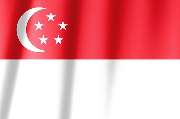 シンガポールの波状の旗のショットを閉じる