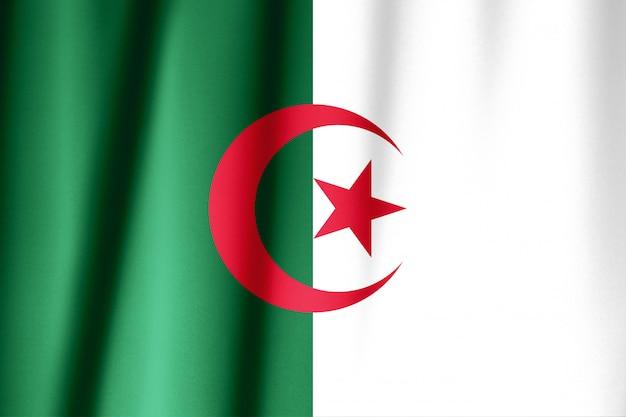 絹のようなアルジェリアの旗のクローズアップ