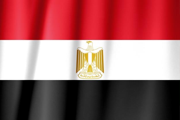 波状のエジプトの旗のショットを閉じる