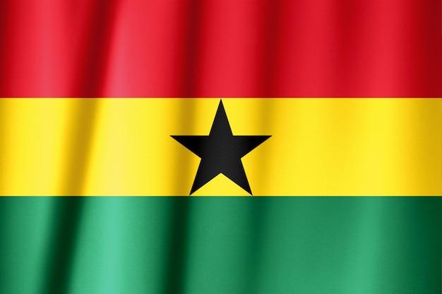 ガーナの波状のカラフルな旗のショットを閉じる