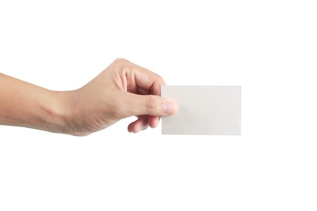 仮想カードを持っている手、